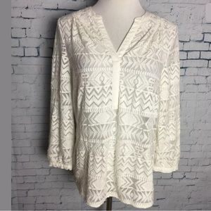 Vince Camuto Womens Ivory Aztec XS Top